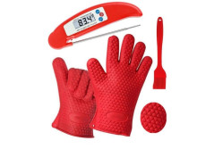 Buy this discounted product Silicone BBQ Oven Gloves -  Heat Resistant Kitchen Gloves Instant Read Meat Thermometer For Cooking Barbecue Grilling,Excellent Oven Mitts For Outdoor and Kitchen Use on Amazon