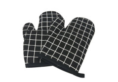 Buy this discounted product GAXmi Oven Mitts Heat Resistant Oven Gloves for Cooking Baking Kitchen Terry 1 Pair of Pot Holder Quilted Cotton Lining for Extra Protection Soft and Washable-Black on Amazon