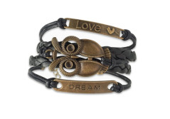 Buy this discounted product Braided Black Leather Bracelet with Antiqued Metal Owl Love Dream Charm Ideal as a Fashion Jewelry Accessory Adjustable Fit for Men and Women on Amazon