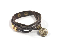 Buy this discounted product Astrology Horoscope Bracelet Fashion Jewelry Made of Braided Leather with Brass Zodiac Charm and Adjustable 2-Snap Fastener is Unisex for Men and Women on Amazon