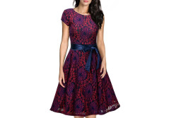 Buy this discounted product Creti Women's Vintage Floral Lace Contrast Bow Cocktail Party Dress Evening Dress on Amazon