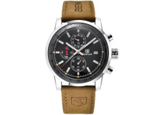 Buy this discounted product BENYAR Men Quartz Watch Chronograph Waterproof Watches Business Casual Sport Brown Leather Strap Watch on Amazon