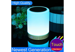 Buy this discounted product LK&smart Night Light with Bluetooth Speaker, Smart Touch Sensor Bedside Lamp, (Dimmable 3 Level Warm White Light & Six Color Changing RGB, Micro SD supported) (new design) on Amazon