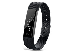 Buy this discounted product CORADO HILL Slim Remote Fitness Activity Tracker with Touch Screen - Calorie Counter - Pedometer - Sleep Monitor - Bluetooth - Sedentary Alerts - Smart Fitness Watch with Time/Date/Stopwatch/Alarm - Call and Message Notifications with caller ID for Android / iOS - VeryFit Free App (Black) on Amazon