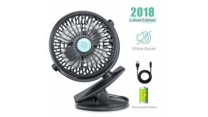 Buy this discounted product REENUO Table Fans Clip Rechargeable Battery Operated Mini Desk Fans USB Fans Office,Home,Travel,Camping,Baby Stroller(Black) on Amazon