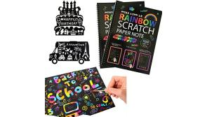 "Buy this discounted product MengTing Scratch Art Activity Books for Kids! 20 BIG 10"" x 7.25"" Sheet Rainbow Scratch Paper Set with Stylus Scratchers & Stencils - DIY Painting Doodle Book Set Makes Art Fun! on Amazon"