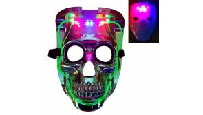 Buy this discounted product SLONLI Halloween Mask, Purge Mask Light Up LED Glow Scary Skull Mask for Adults Kids Boys Girls on Amazon