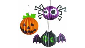 Buy this discounted product SLONLI Halloween Decorations Paper Lanterns, Halloween Pumpkin Lanterns Jack O Lantern Halloween Hanging LED Lights for Outdoor Decor Yard Party(Pack of 3) on Amazon