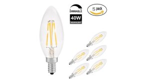 Buy this discounted product Yiiyaa Candelabra LED Bulb Dimmable E14 Base,4W=40W Equivalent 2700K Antique Patio Wall Ceiling Festival Bar Decoration LED Chandelier Lights Sharp Tail - 5Pack [Energy Class A++] on Amazon