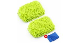 Buy this discounted product BASEIN Waterproof Car Wash Mitt Microfiber Wash Mitt 2 Pack Scratch Free Chenille Car Wash Mitt Thick Wash Glove with Free Towel Polishing Cloth on Amazon