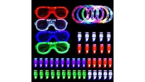 Buy this discounted product LED Party Favors for Halloween Christmas,BASEIN 50PCS LED Light Up Toys Glow in the Dark Party Supplies for Kids Adults Teens with 40 LED Finger Lights,6 Bracelets and 4 Flashing Slotted Shades Glasses on Amazon