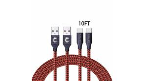 Buy this discounted product USB Type C Cable USB A 3.0 to USB-C Fast Charger Nylon Braided Cord Compatible Samsung Galaxy S9 S8 Plus Note 9 8,Moto Z Z2,LG V30 V20 G5 G6,Google Pixel 2 XL,Nintendo Switch (Red,2Pack 10FT) on Amazon