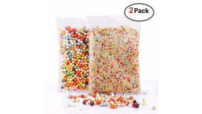 Buy this discounted product BASEIN Foam Beads for Slime, 2 Pack Rainbow Foam Beads Styrofoam Balls 0.1-0.35 Inch Slime Foam Balls for Kids Fits for Wedding/Party Decoration, Arts and Crafts on Amazon