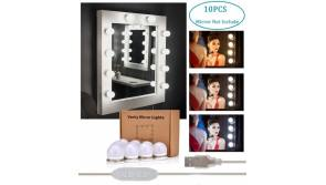Buy this discounted product AUSHEN Hollywood Style LED Vanity Mirror Lights Kit[Upgraded], 3 Color Lighting Modes USB Makeup Mirror Lights with 10 Dimmable Light Bulbs Lighting Fixture Strip for Makeup Vanity Table Dressing Room on Amazon