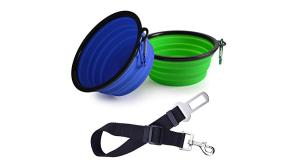 Buy this discounted product Linxii Dog Seat Belt + 2 set Collapsible Travel Silicone Dog Bowl Portable Pet Food Water Bowls on Amazon