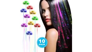 Buy this discounted product Linxii 10 Pack fibre optic led light up flashing hair clip extensions, barrettes for unicorn party, bar dancing hairpin, light up hair accessories (5 colors) on Amazon
