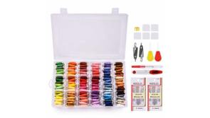 Buy this discounted product Embroidery Floss with Organizer Storage Box, BASEIN 108 Colors Friendship Bracelets Floss String Embroidery Thread String Kit with 39 Pcs Cross Stitch Kits Tools on Amazon