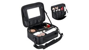 Buy this discounted product Portable Large Makeup Bag for Women Make Up Bags Organiser Case Professhional Cosmetic Bag with Removable Mirror & Adjustable Dividers on Amazon