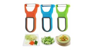 Buy this discounted product Magic Trio Peeler, AnewGeek Upgraded Kitchen Vegetable Julienne Peeler Fruit Starter Kit with Non-Slip Handles for Apple Pineapple Carrot... on Amazon