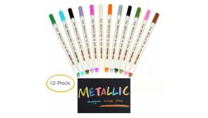 Buy this discounted product Metallic Marker Pens - AnewGeek Fine Point Metal Art Brush Markers for Scrapbook Photo Album Markers, DIY Kids Craft, Gift Card Making, Painting Rocks, Notebooking, 12 Colors/Set on Amazon