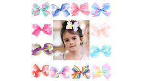 """Buy this discounted product Ribbon Pinwheel Hair Bows, AnewGeek 4.5"""" Hair Bow with Alligator Clips Grosgrain Boutique Barrette Bows For Little Girls Babies Teens... on Amazon"""