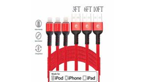 Buy this discounted product 3 Pack 3,6,10FT Cell Phone Charging Cable Compatible with Xs Max XR X 8 Plus 7 Plus 6S Plus and More (Red) on Amazon