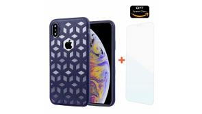 Buy this discounted product COMET iPhone Xs Max Case, Embossed Leather Pattern TPU Soft Cover, Ultra-Thin Protective Shockproof with Precise Holes | 6.5 Inch | + Free Tempered Glass and Wristband Gift (Blue) on Amazon