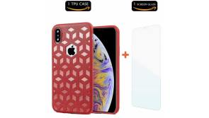 Buy this discounted product COMET iPhone Xs Max Case, Embossed Leather Pattern TPU Soft Cover, Ultra-Thin Protective Shockproof with Precise Holes | 6.5 Inch | + Free Tempered Glass and Wristband Gift (Red) on Amazon