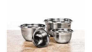 Buy this discounted product 4 pc Stainless Steel Mixing Bowls - Mixing Bowl Set - Serving Bowl Set - 1, 1.8, 3, and 5 quart - Metal Mixing Bowl Set - Multicolor Silicone Base, Hammered, Plain, Black Silicone Base (Hammered) on Amazon
