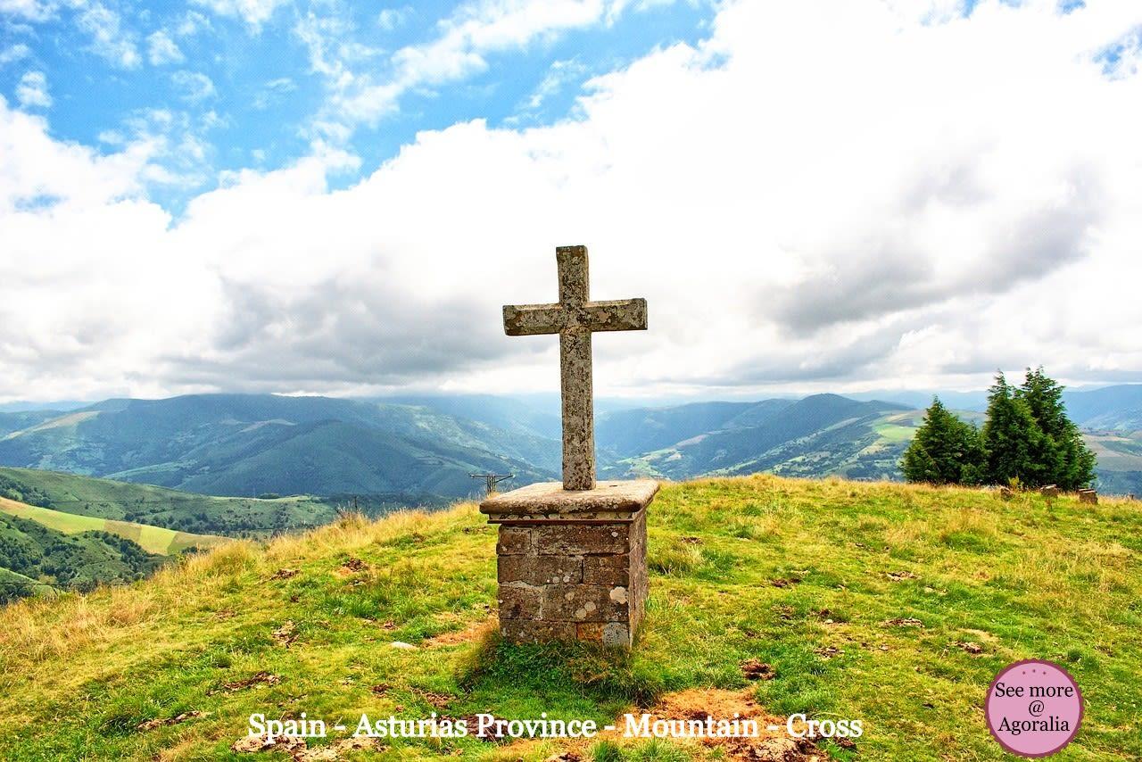 Spain-Asturias-Province-Mountain-Cross