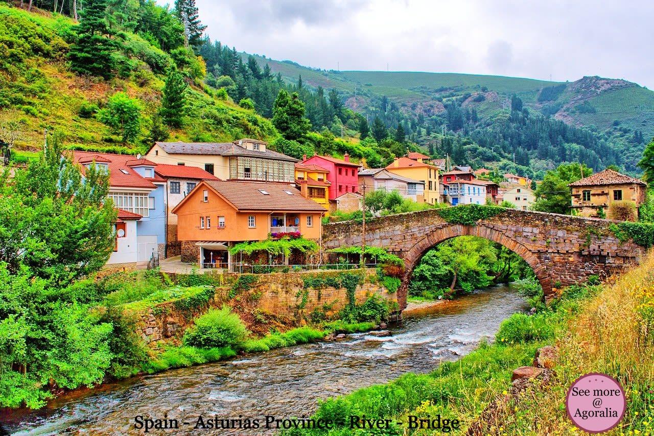 Spain-Asturias-Province-River-Bridge