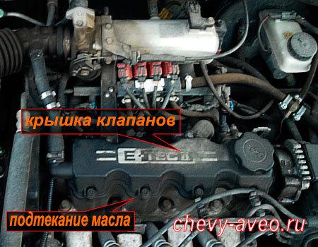 Замена прокладки крышки клапанов в Авео - Подтеки масла из под крышки клапанов