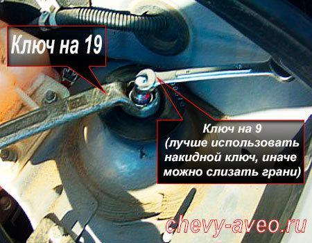 Замена опорной подушки передней стойки Авео - Для ослабления гайки используйте ключи на 19 и 9