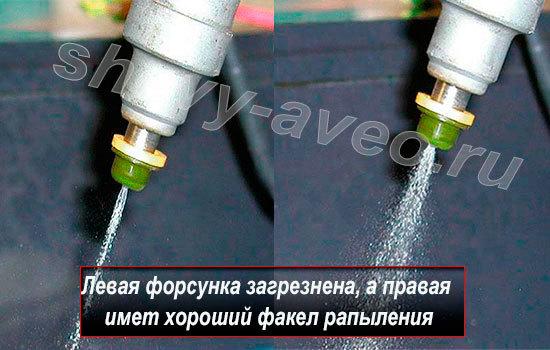 Как промыть форсунки в домашних условиях - Факел распыления грязной и чистой форсунки