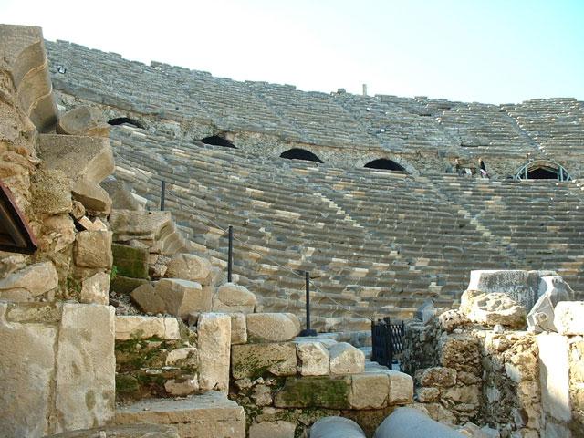 Greek Amphitheater Ruins in Side, Turkey.