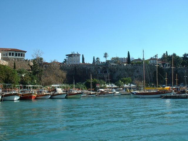 Boats at the harbor in Antalya, Turkey.