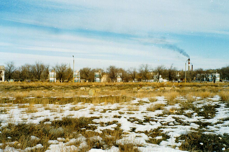 Demolished apartments and coal plant running in Karatau (1997)