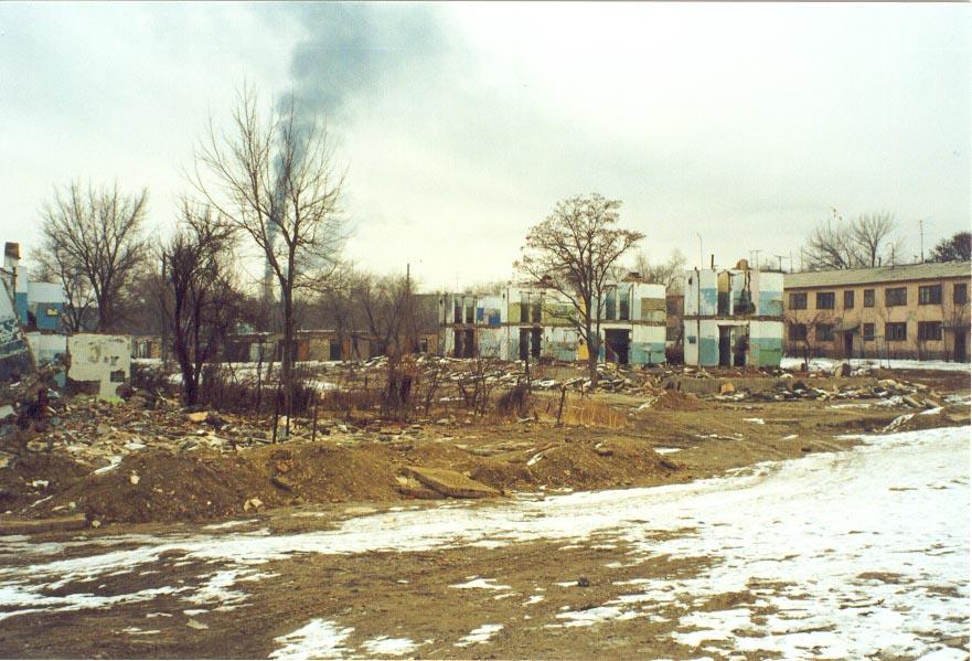 More demolished apartments in Karatau (1997)