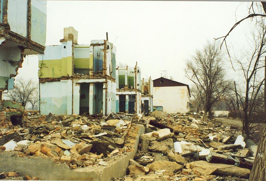 Demolished apartments in Karatau (1997)