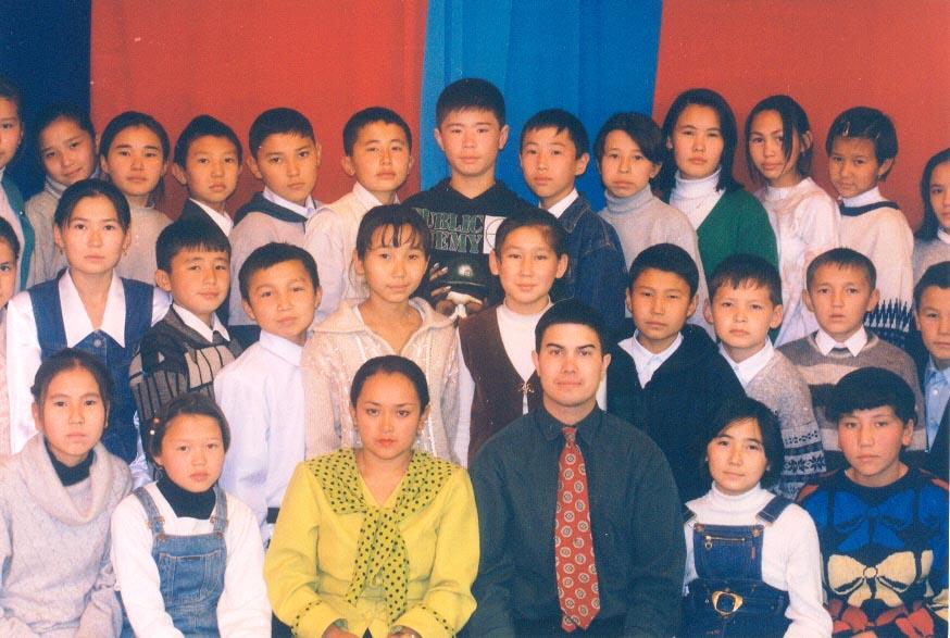 Grade 6 and their homeroom teacher at the Karatau Lyceum (Karatau, Kazakhstan)