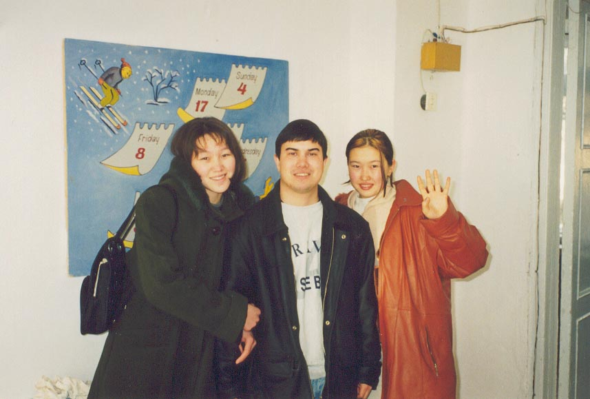 Meeting my former students at the Karatau Lyceum in October, 1999.