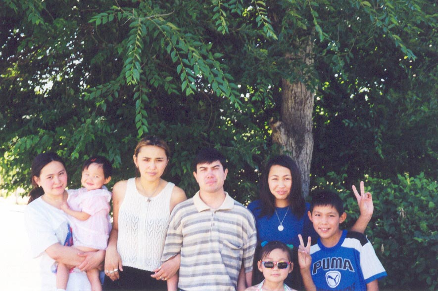 Photo with my Kazakh host family in June, 1999
