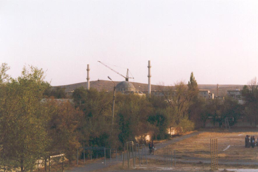View of the unfinished Karatau Mosque from my host family's apartment