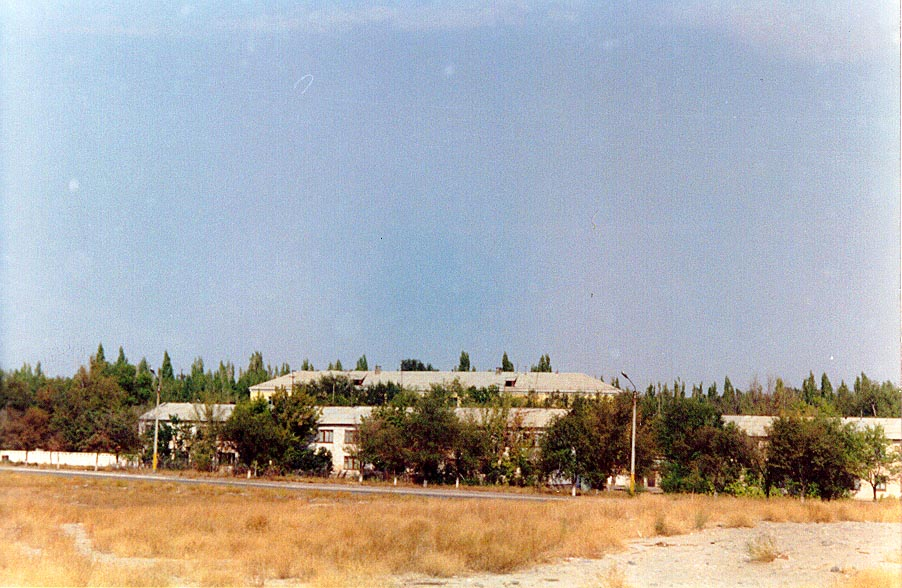 View of the Karatau Lyceum in Autumn, 1997, before the apartments were demolished