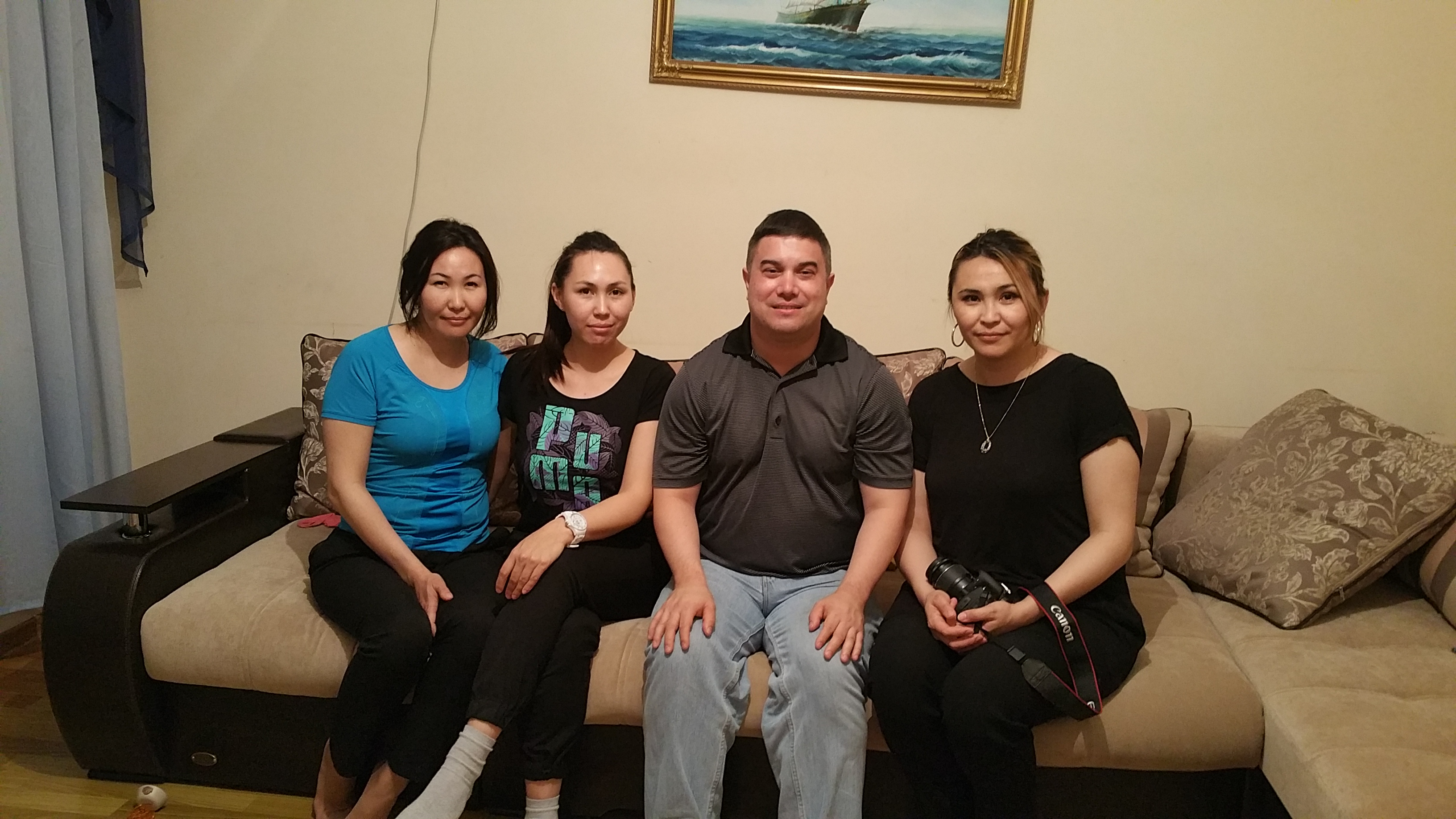 With three of my Kazakh host sisters in Aktau, Kazakhstan