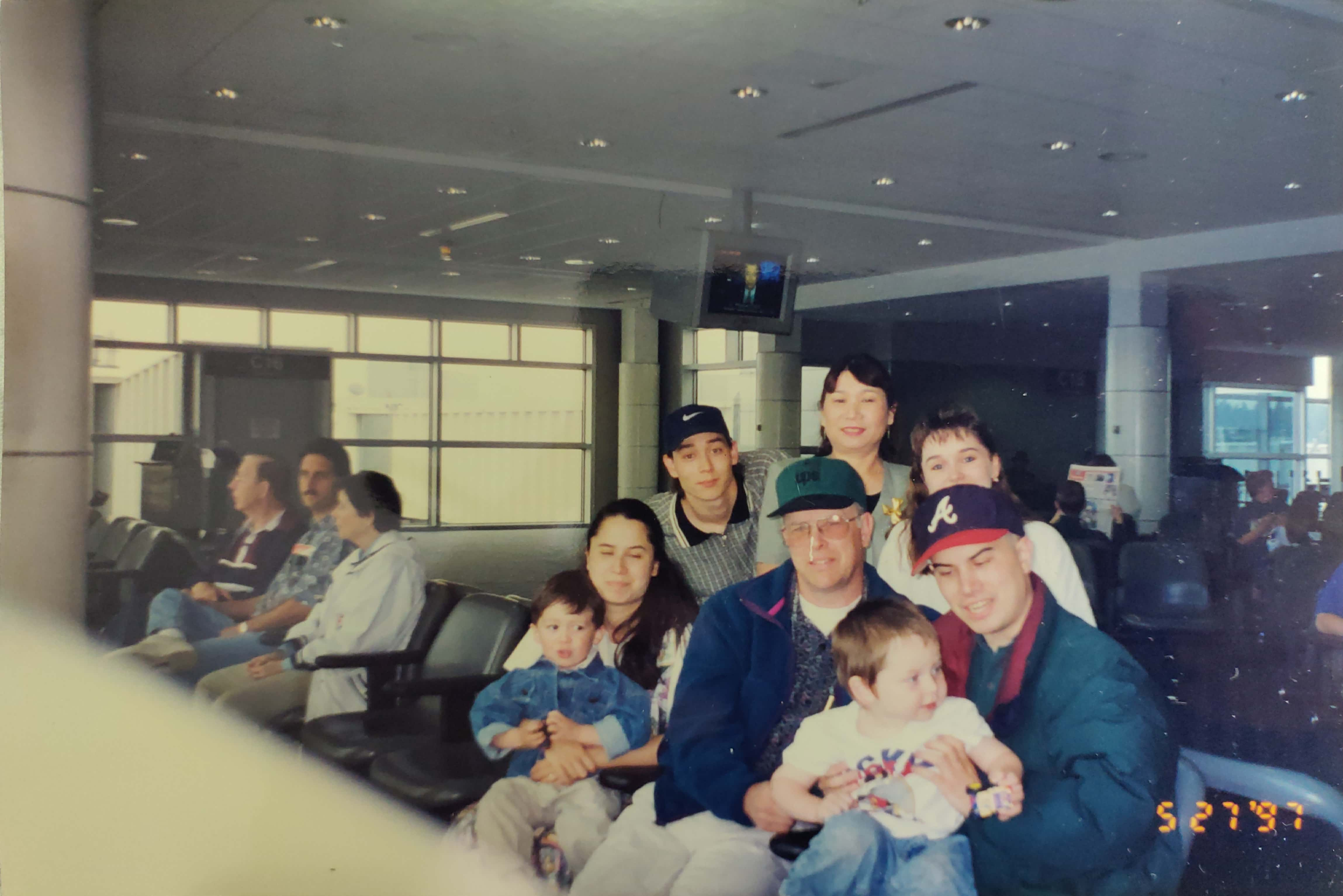 Seattle Tacoma International Airport in May, 1997, with my parents and siblings.
