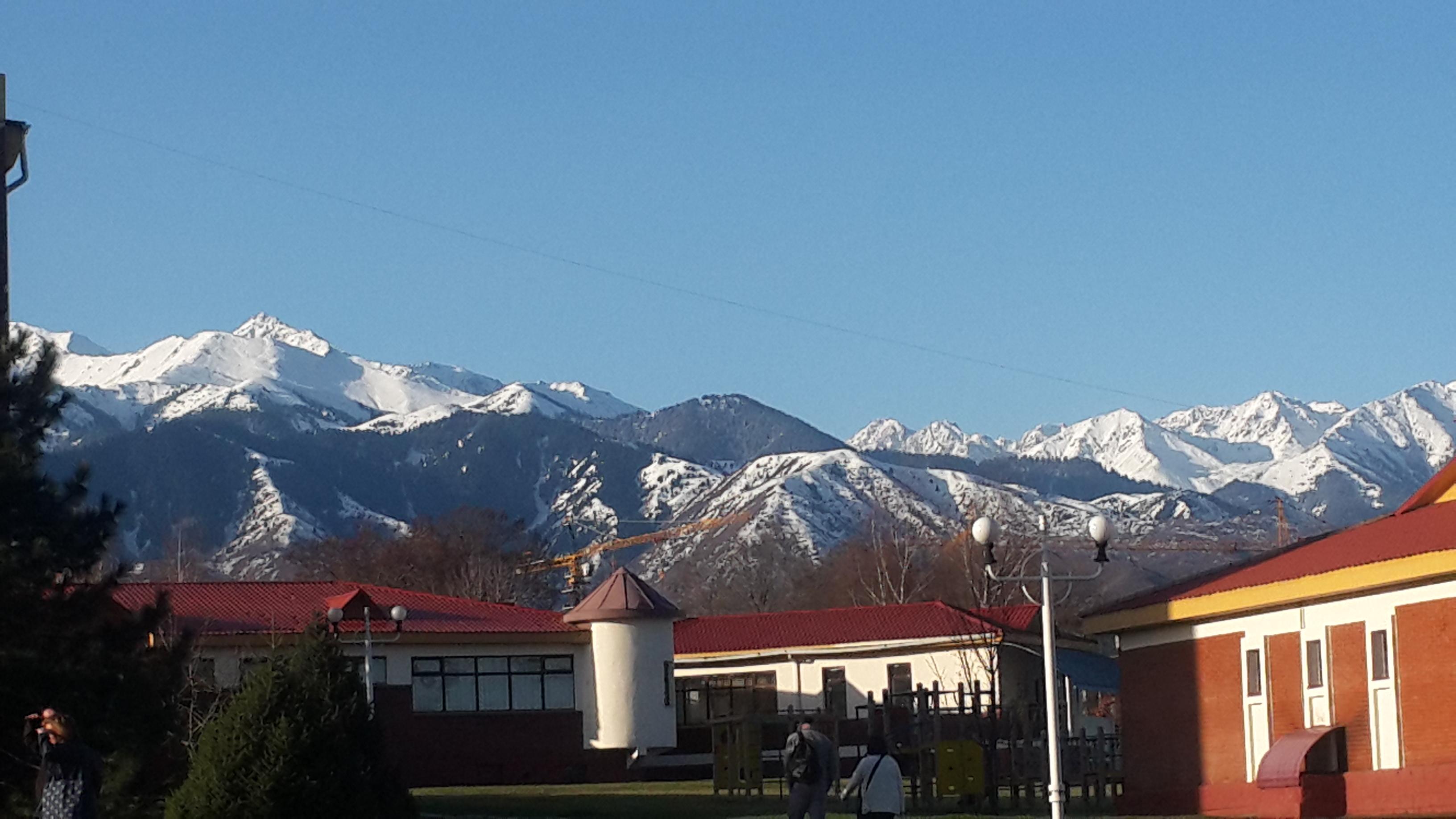 Alatau Mountains from Miras International School in Almaty, Kazakhstan.