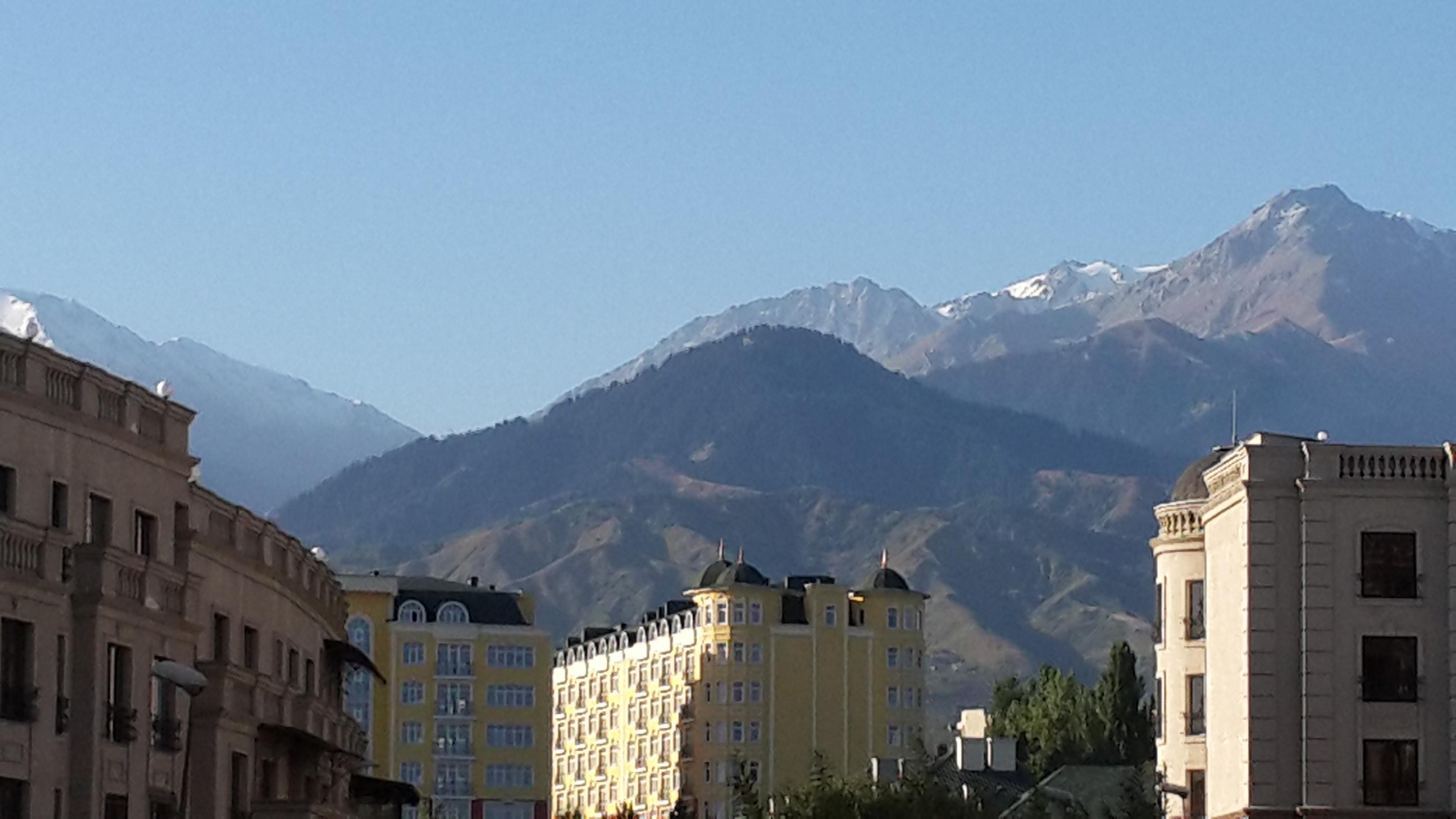 Alatau Mountains from Solichnaya Dalina Apartments in Almaty, Kazakhstan.