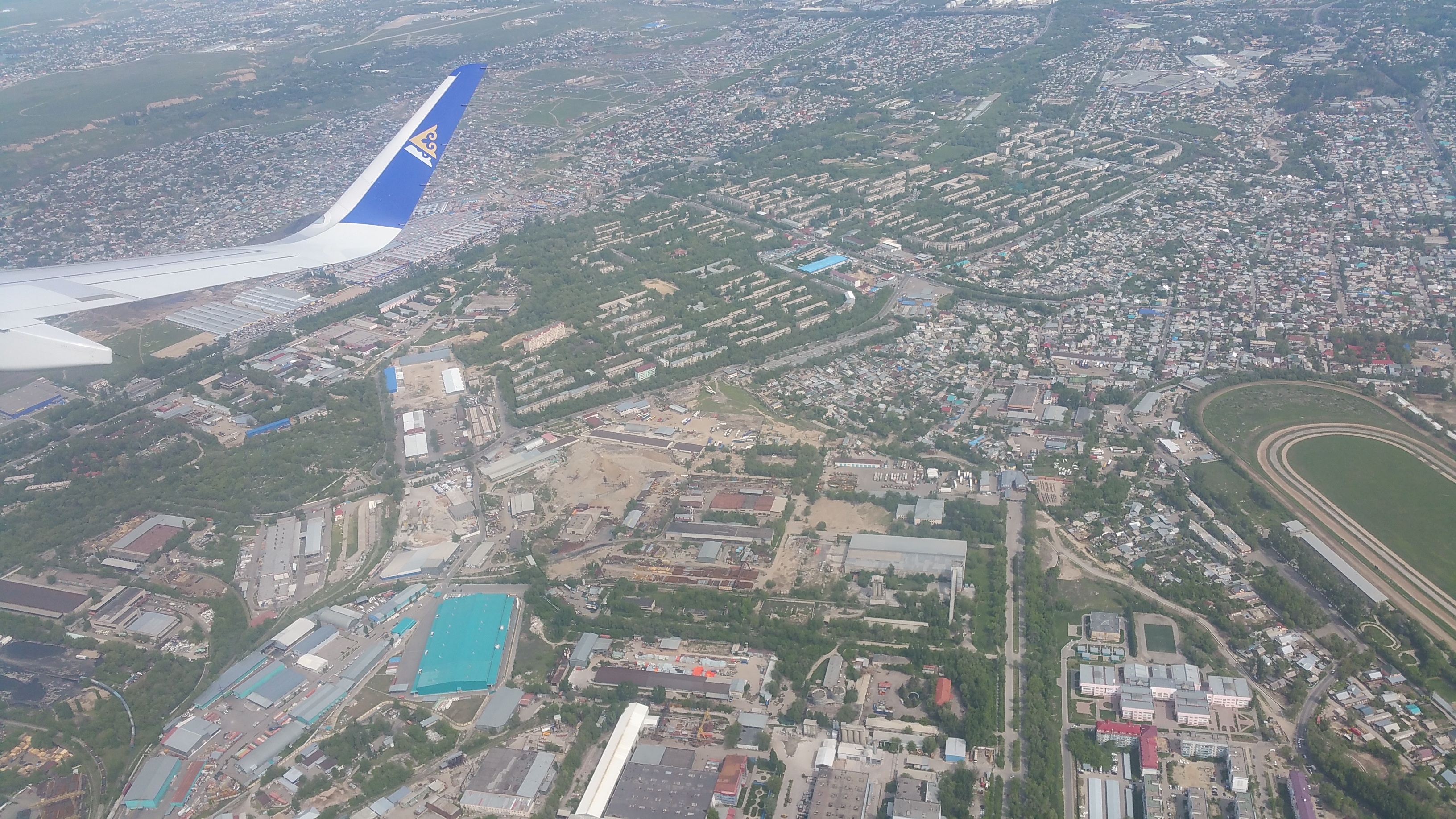 Air Astana flight over Almaty, Kazakhstan, in May, 2015.