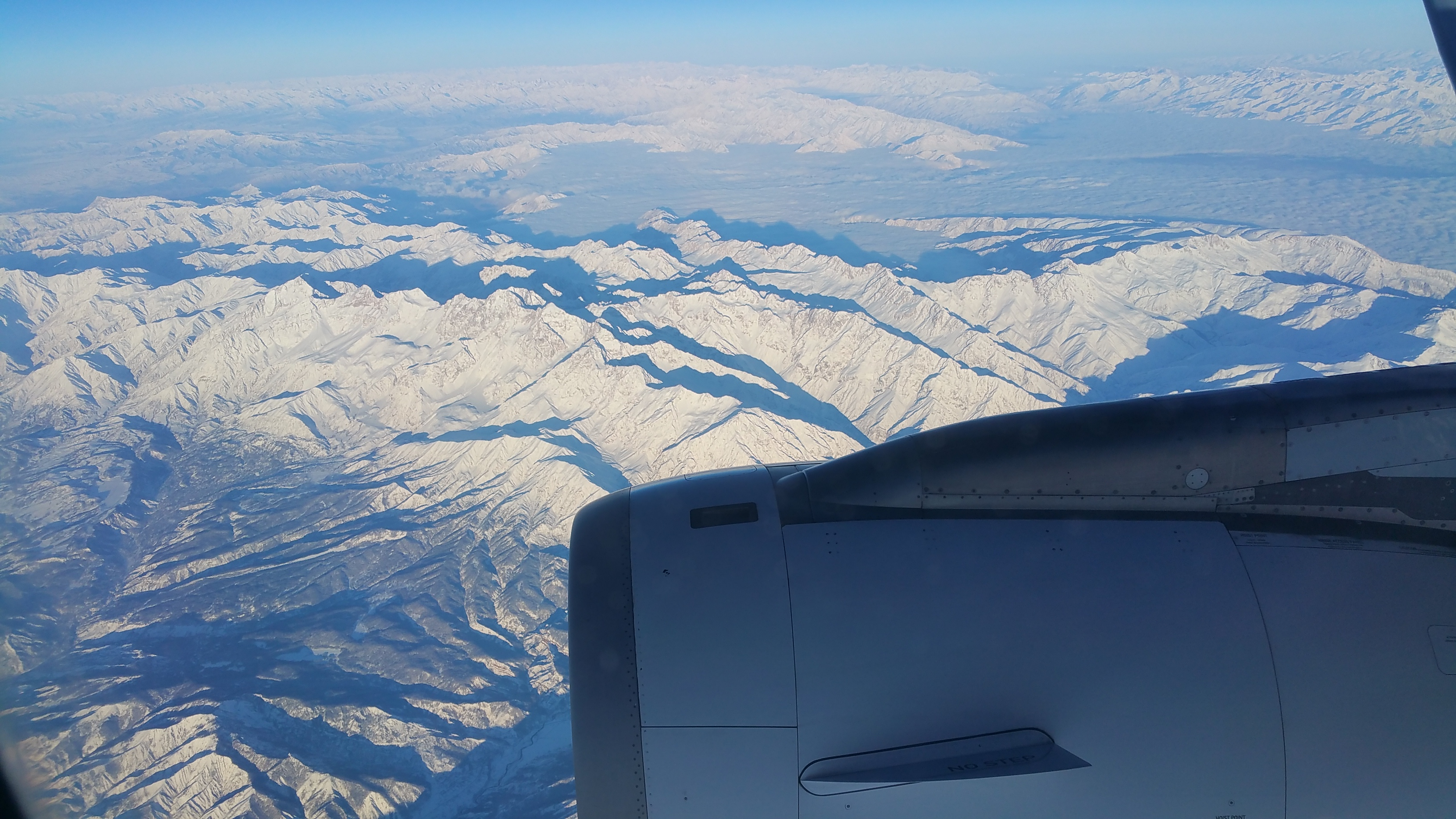 Air Astana over the Tien Shan Mountains in Kyrgyzstan.